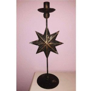 Celestial Star Burst Brass Candle Stick Holder